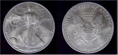 Silver eagle silver dollar coin, American silver eagle - Picture